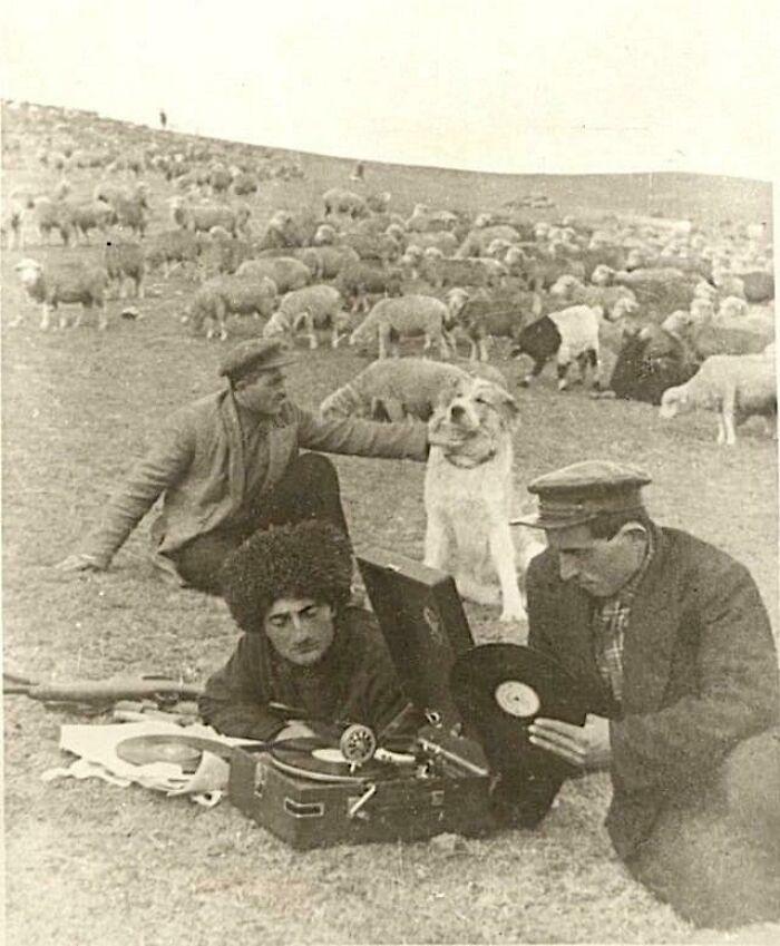 Shepherds Listening To Music Records, Azerbaijan 1939