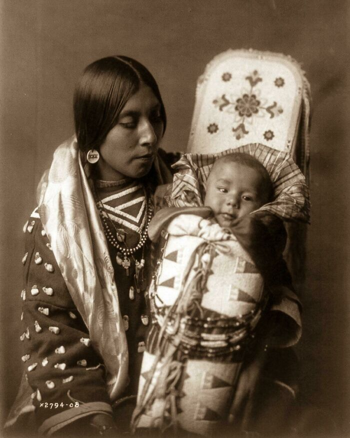 A Native American Mother And Her Child - 1900s