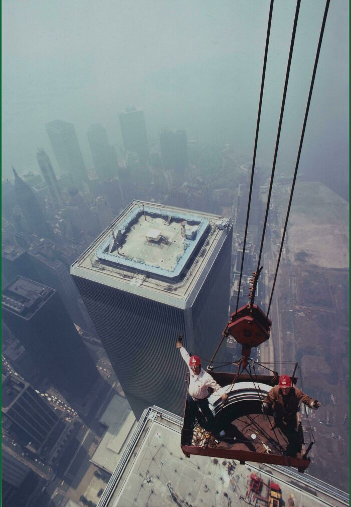 Iron Workers Pose For A Photo Atop The North Tower Of The World Trade Center, 1973