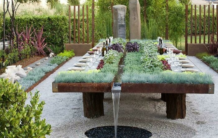 Outdoor Table With Integrated Herb Garden