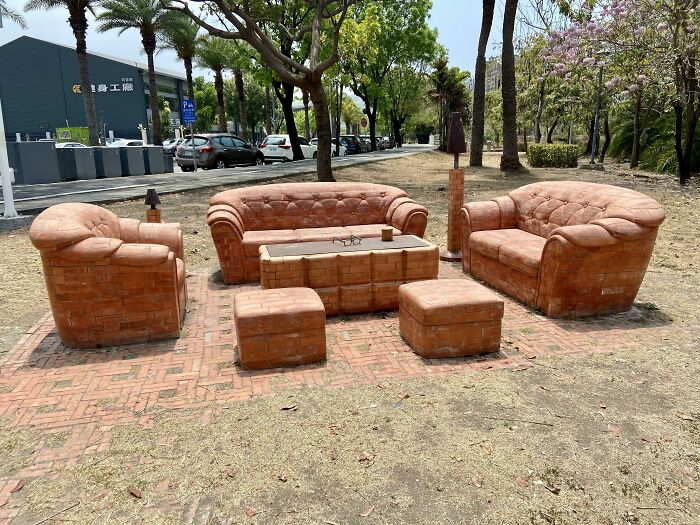 This Sofa Set Made Out Of Red Bricks.