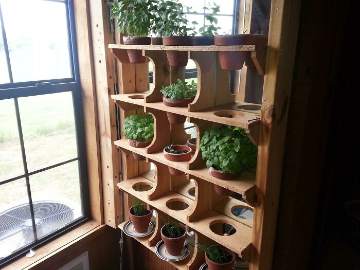 I Had A Window Garden Starving For Sun So I Hinged It And Backed It With A Mirror. Worked Like A Champ