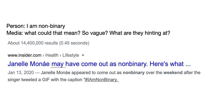 May Have Come Out After Tweeting I Am Non-Binary