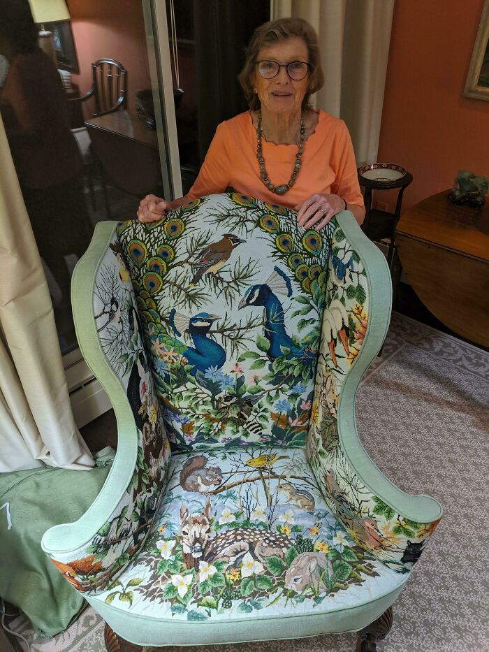 My 86yo Grandmother And Her Handmade Needle Point Chair. 25 Years In The Making And 14 Threads Per Inch