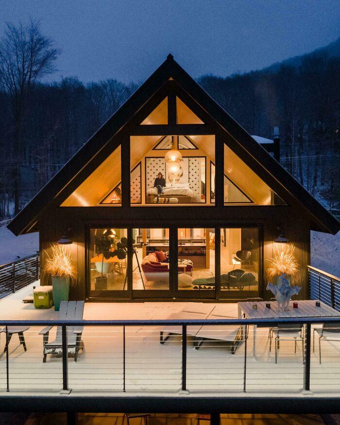 Evening View Of Living Area / Loft Bedroom