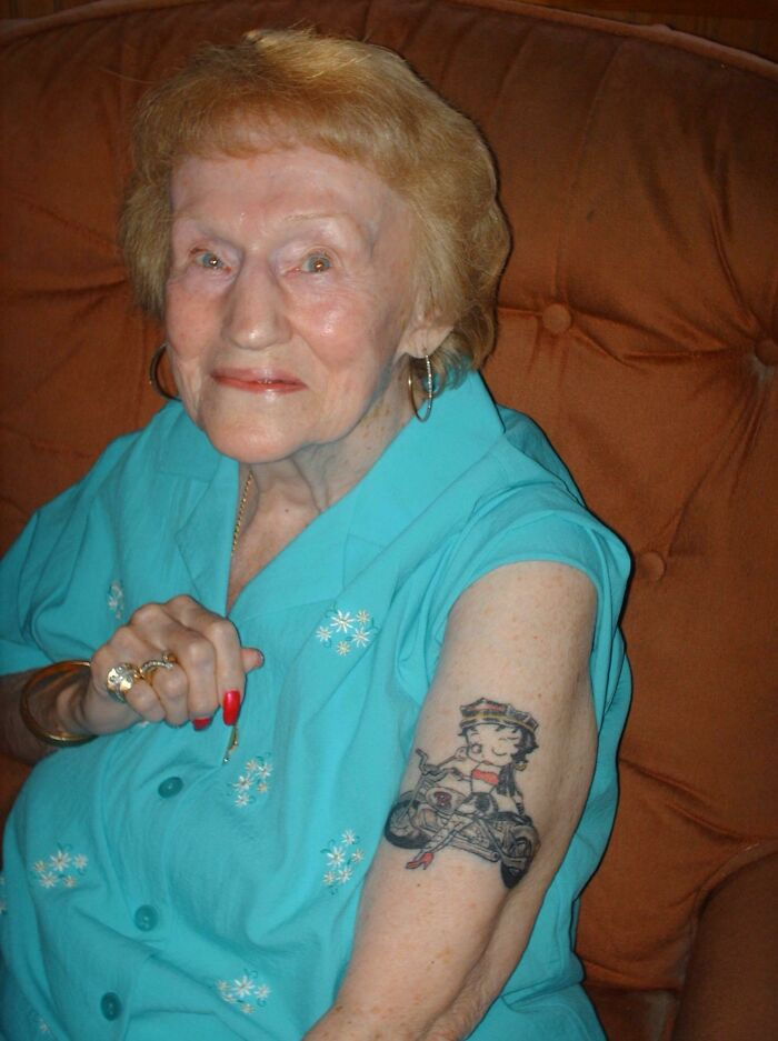 My 87-Year-Old Step Grandmother Decided It Was Time To Get A Tattoo