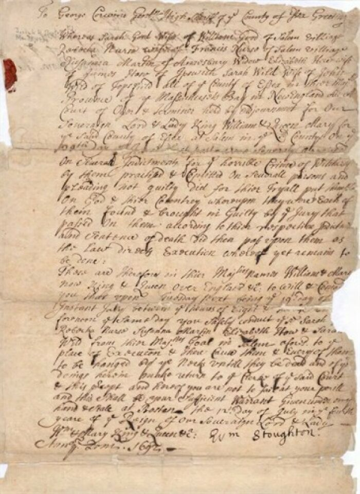 Death Warrant For My 10th Great Grandmother Susannah North Martin, Tried And Convicted At The Salem Witch Trials