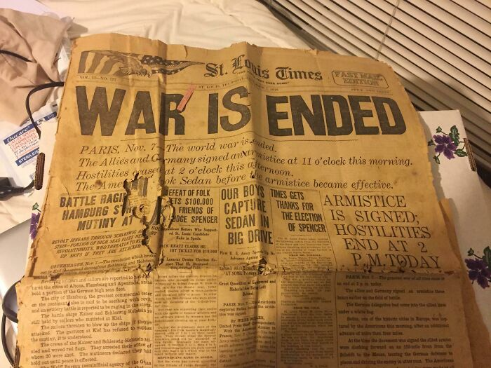 Paper Found Among My Late Grandmother's Belongings Talking About The Armistice Ending Ww I
