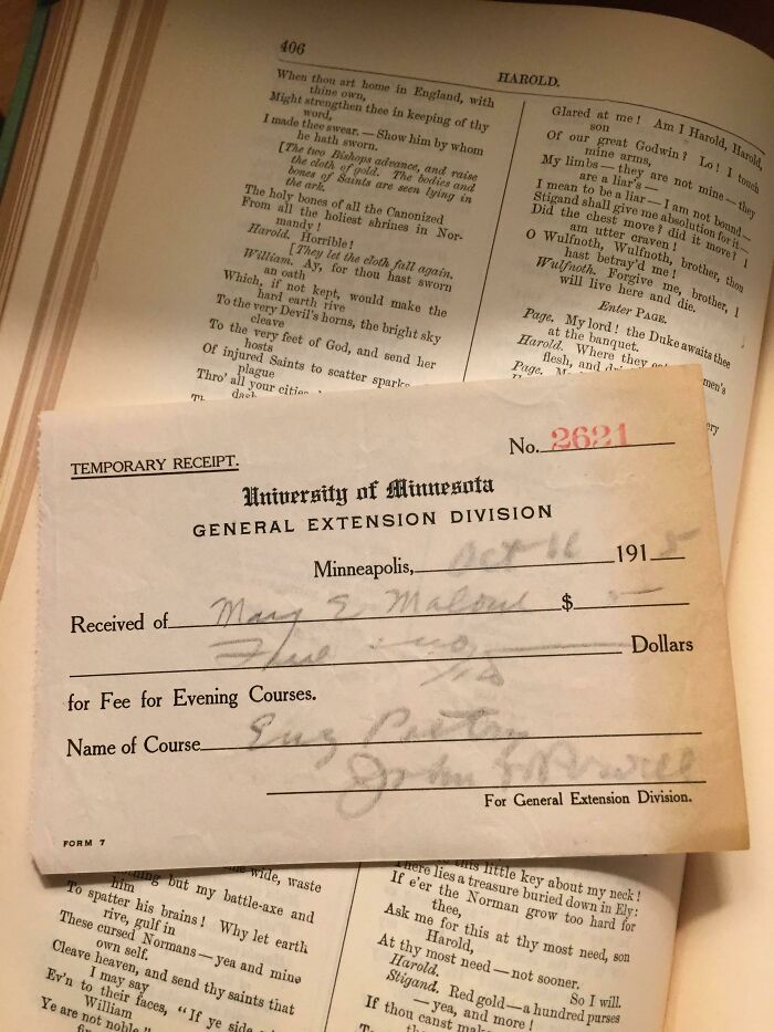Purchased Old Poetry Book At Flea Market And Found This Old Receipt For A College Poetry Class. This Receipt Has Been In This Book For 102 Years!
