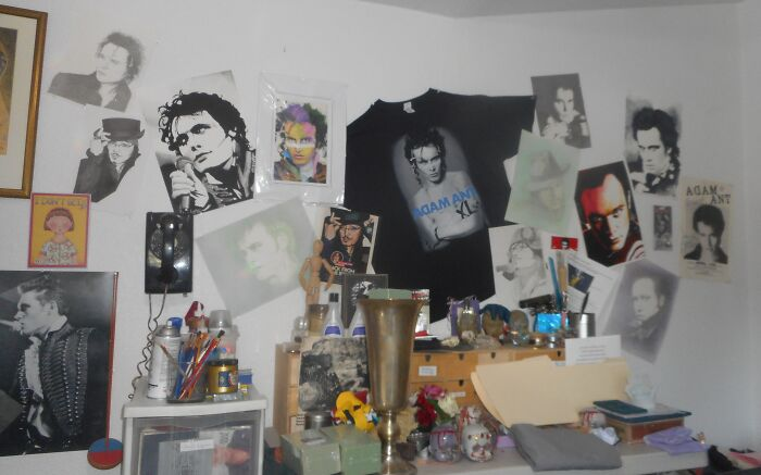 Adam Ant Stuff. This Is In My Art Room. Some Of The Original Art I Created, The Rest Original Art Is From A Young Man In England. I Have More, But This Was The Easiest To Photograph. Ignore All The Stuff Stacked In Front Of The Adam Display. My Art Room Is An Adventure!