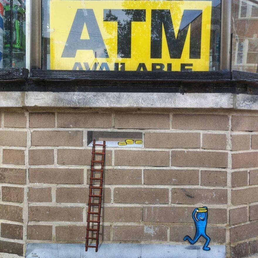 The Small Robber Of Coins collaboration With @_e.lee_ justanotherbrickinthewallproject #mtn94 #montana94 #oakoak #streetart #urbanart #oaky #graffityart #urban #chicago #stencil #pochoir #stencilart #chicagostreetart #urbanintervention #usastreetart #art#fun #justanotherbrickinthewall #coin