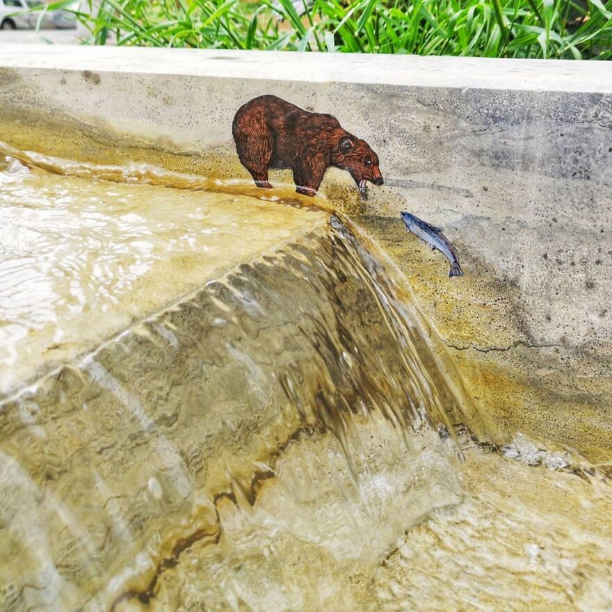 Urban Wild Life #oakoak #urban #streetart #urbanart #oaky #bear #small #petit #saumon #water #cascade #river #riviere #art #eau #wild #sauvage #ours ##stencil #stencilart #graff #mtn94 #montanacolors