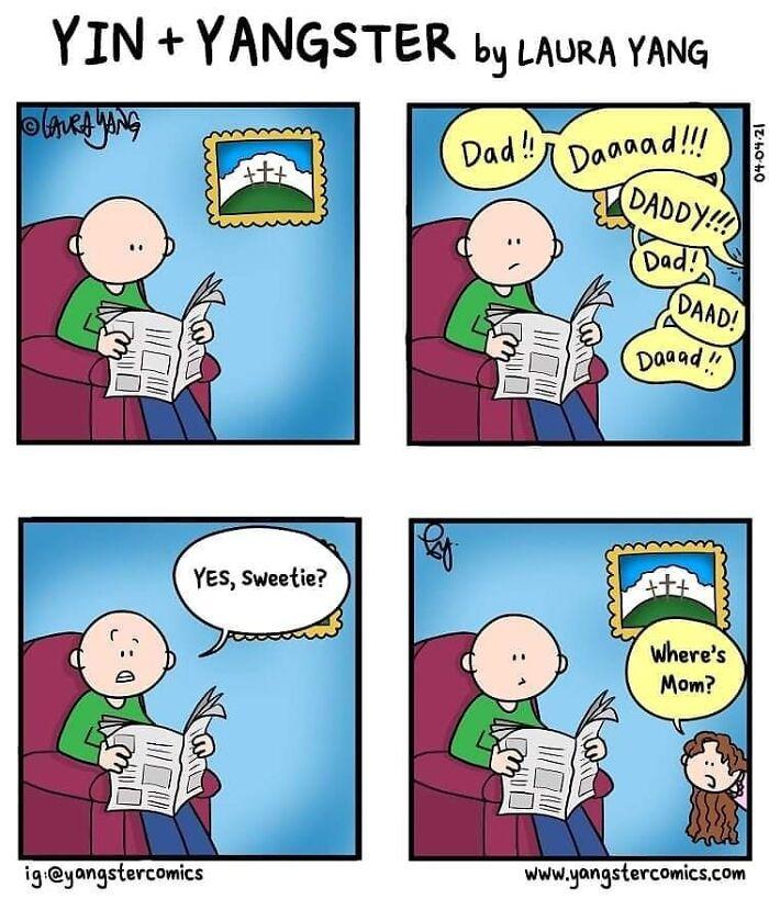 #dad #daddy #mom #mommy #parentlife #momlife #dadlife #kids #whereareyou #happyeaster #newspaper #thefunnypagesgang #yangstercomics #webcomics #parentingcomics