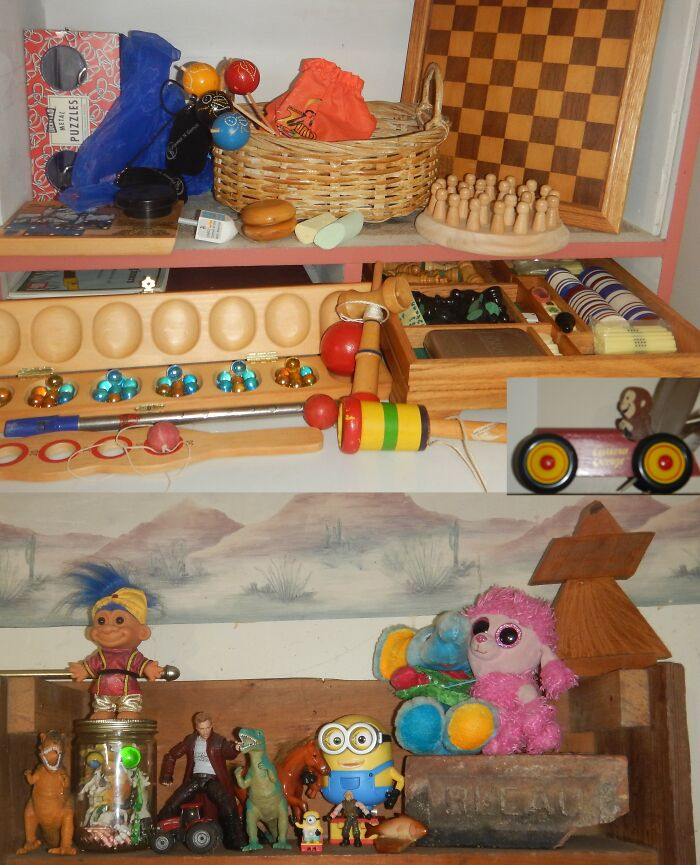 Toys, Especially Wooden Toys. The Farm Animals In The Glass Jar Are From My Childhood - 50 Years Ago. Not Shown Is My Bone And Mahogany Mahjong Set
