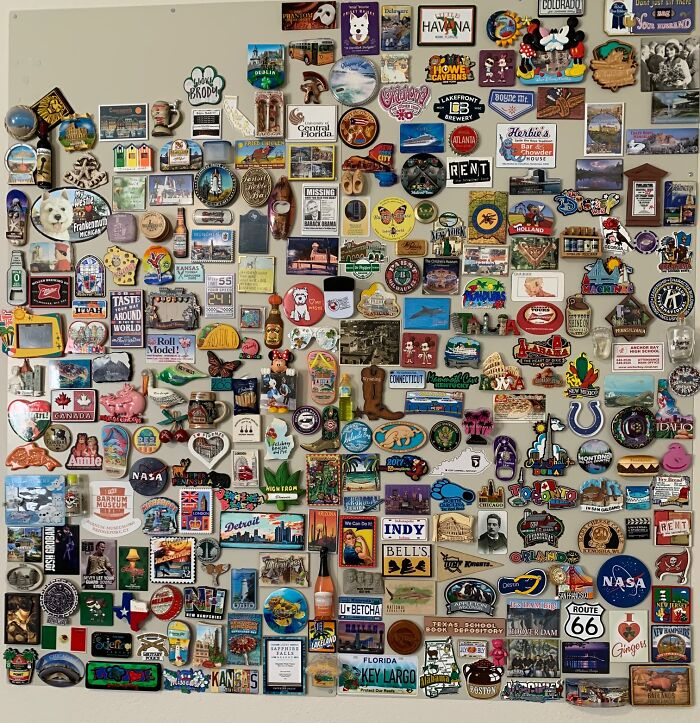 My Collection Of Magnets From My Travels. I Grab One At Any New Place I Visit