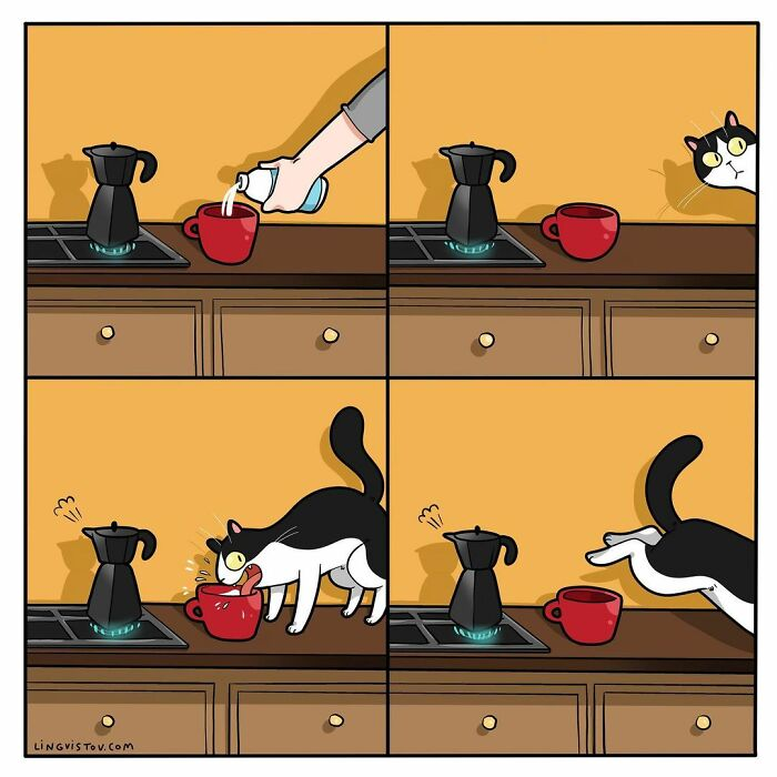 Lingvistov Comics Shows What It's Like To Live With A Cat Daily (New Pics)