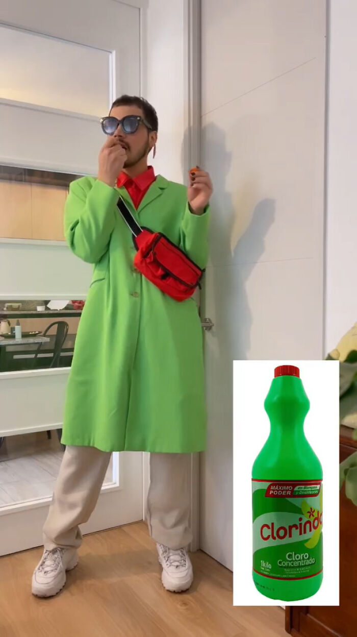 This Designer Goes Viral For Creating Outfits Based On Foods, Drinks, And Cleaning Products (16 Pics)
