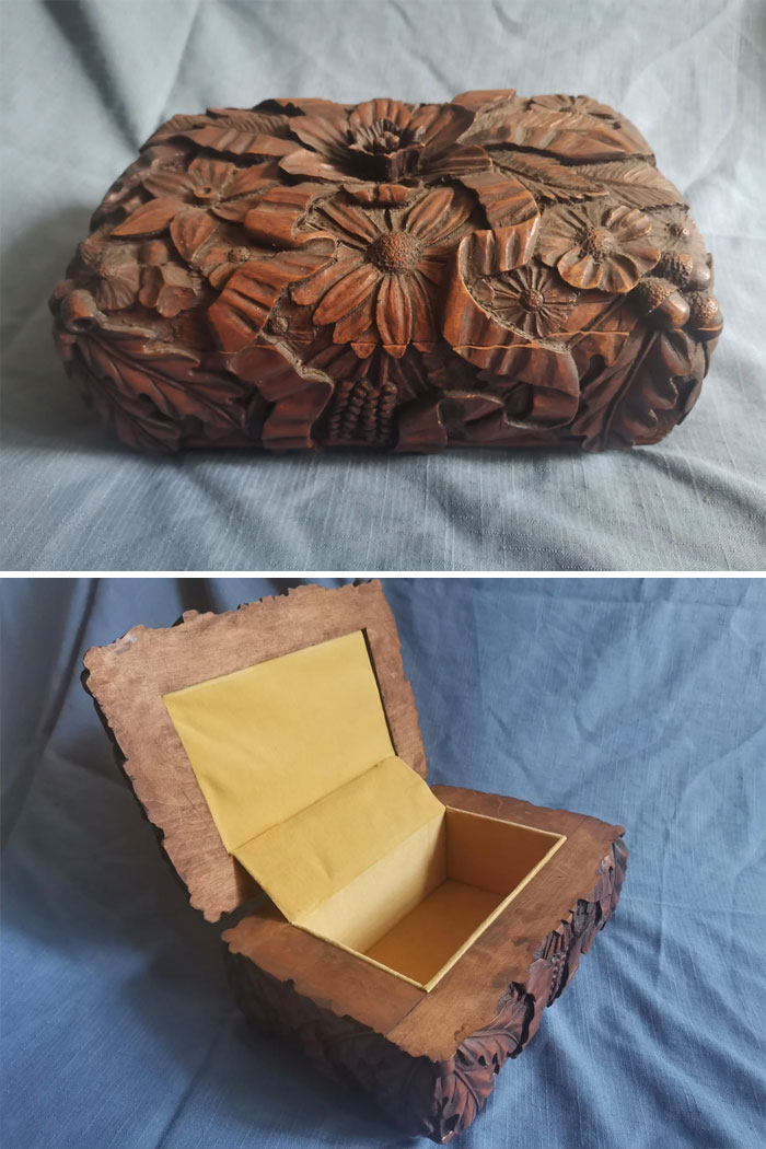 Another Jewellery Box I Made. Made From Maple Wood, And The Interior Is Yellow Velvet