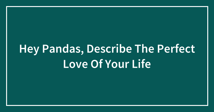 Hey Pandas, Describe The Perfect Love Of Your Life (Closed)