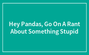Hey Pandas, Go On A Rant About Something Stupid