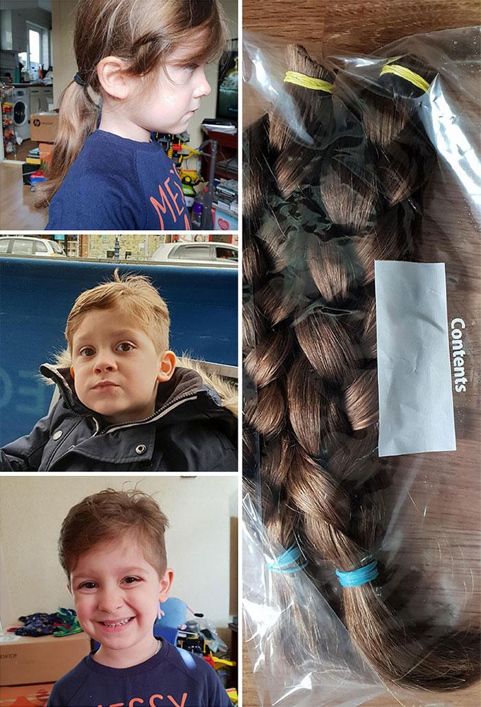 Mi hijo de cuatro años tuvo su primer corte de cabello esta mañana, y su pelo será donado directamente a caridad. Espero que haga feliz a otro niño