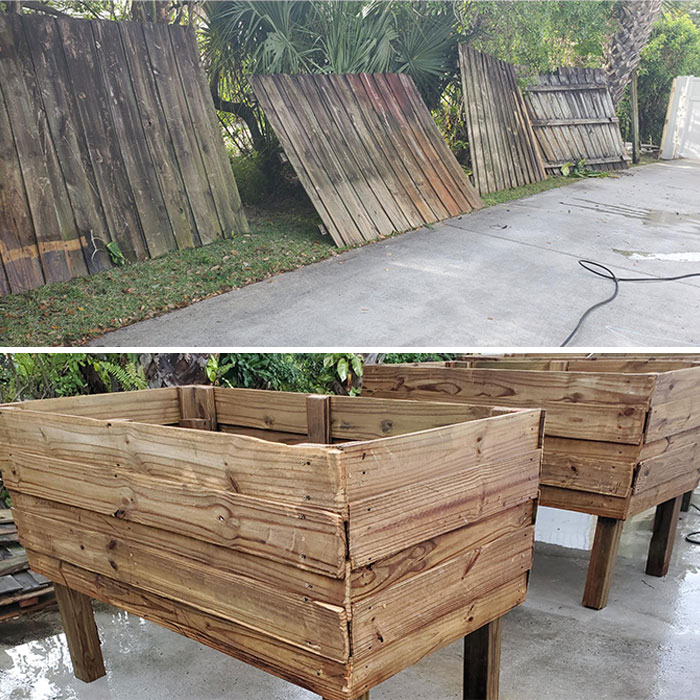 I Convinced My Friend To Not Throw Away His Old Fencing And Let Me Build Him Garden Boxes