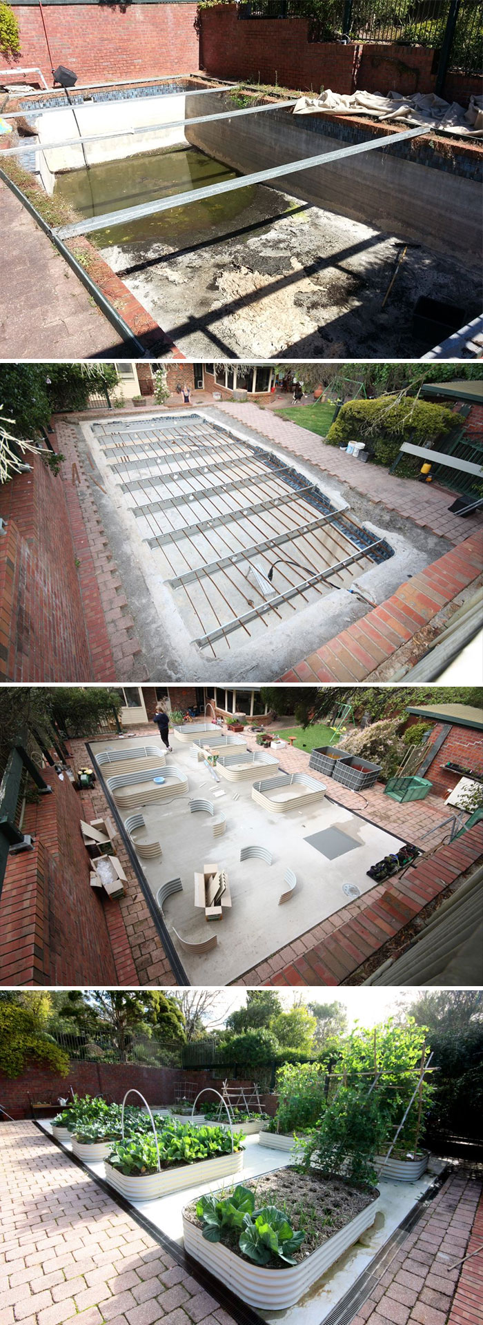 We've Converted Our Pool Into An 80,000l Underground Rainwater Tank With Raised Vegetable Garden Beds On Top
