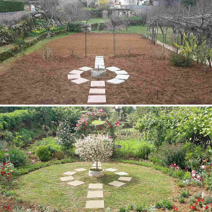 What A Difference A Few Years Can Make. Idea 2017 vs. Established Garden 2020