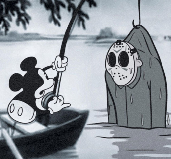 Artist Puts Iconic Horror Characters In Mickey Mouse From The 1930s And The Results Are These 15 Spooky Crossovers