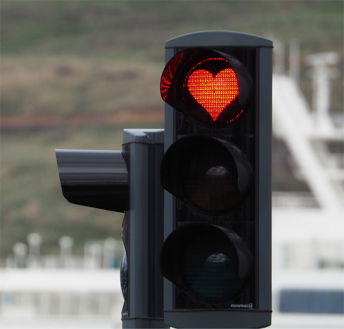 In The Town Of Akureyri Traffic Lights Have Red Hearts Instead Of Red Circles