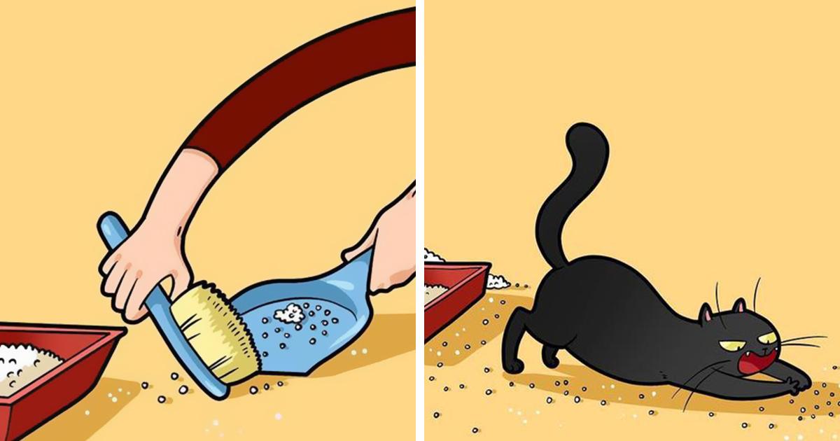 Esta artista ilustra los divertidos momentos de la vida de todo dueño de gatos (22 nuevas imágenes)