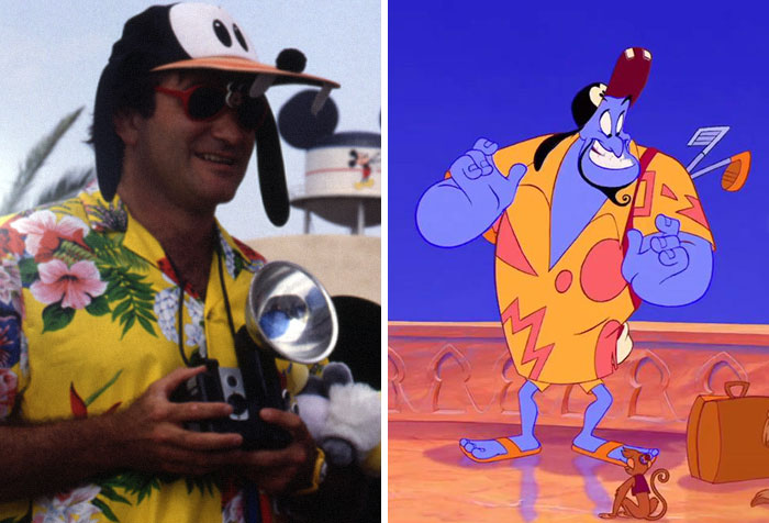 "In Aladdin, Genie Wears A Hawaiian Shirt And Goofy Hat Near The End Of The Film As A Tribute To Robin Willams' Outfit In The 1989 Short ""Back To Neverland"" That Was Filmed For Disney's Mgm Studios"