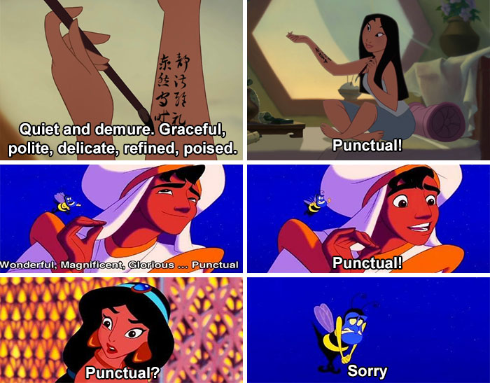 In Mulan (1998), Mulan Mentions 'Punctual' As One Of The Desirable Qualities In A Bride. This Is A Callback To Aladdin When The Genie Accidentally Tells Him To Say 'Punctual'