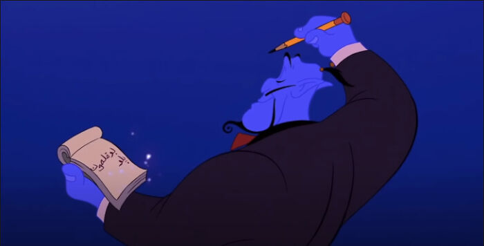 In Aladdin, The Genie Writes Aladdin's Order From Right To Left, Which Is How Arabic Would Be Actually Written