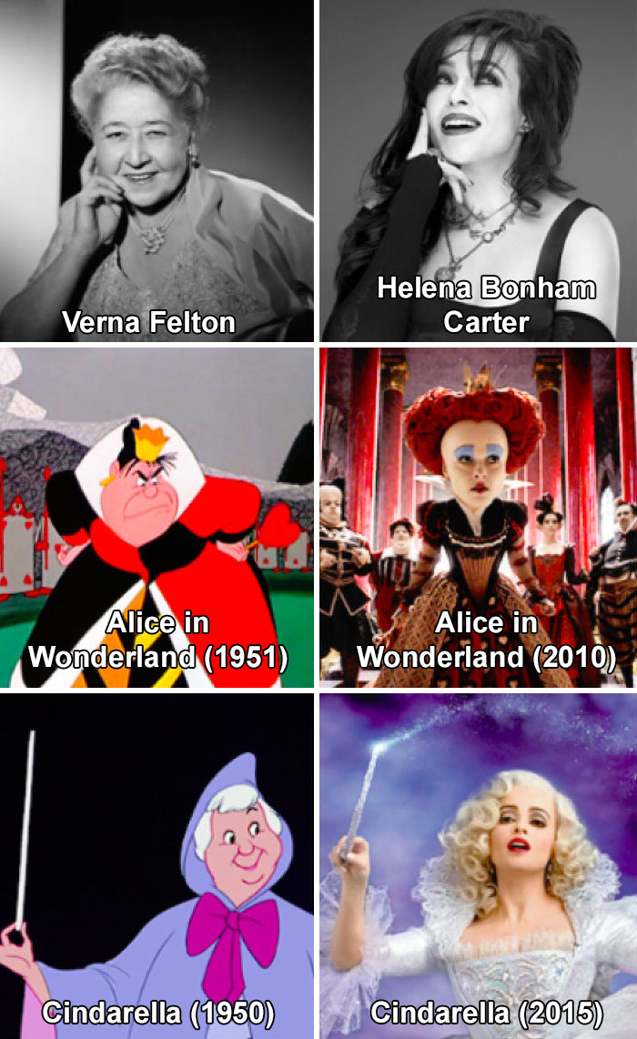 In Disney's Cinderella And Alice In Wonderland, The Same Actress Played The Fairy Godmother And The Red Queen In Both The Original Animation And The Live-Action Remake: Verna Felton Voiced Both Women In The Originals (1950, 1951), While Helena B. Carter Played Both Women In The Remakes (2010, 2015)