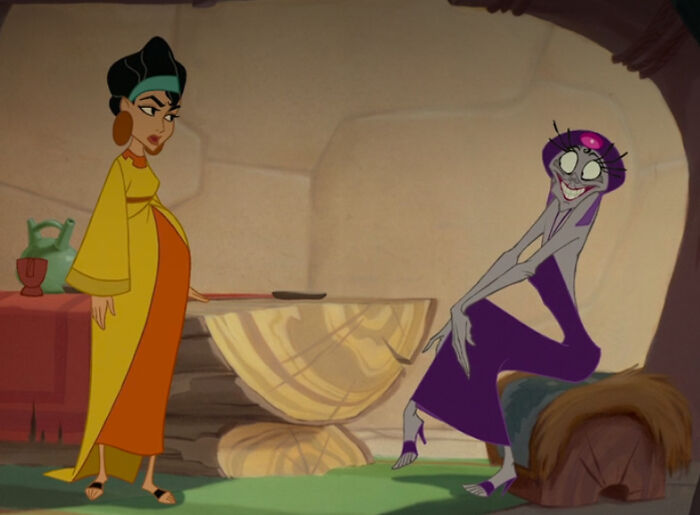 Chicha From The Emperor's New Groove (2000) Is The First Pregnant Female Character To Appear In A Disney Animated Feature Film, According To The Dvd Commentary. She's Also One Of The First Mother Characters In A Disney Film Not To Be Killed Off Or Villainized