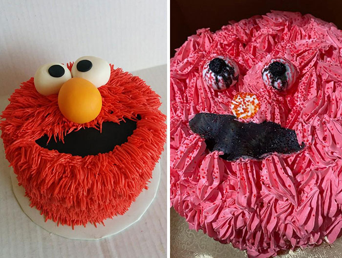 We Ordered The Cake On The Left And Received The Cake On The Right. Elmo Has Seen Better Days