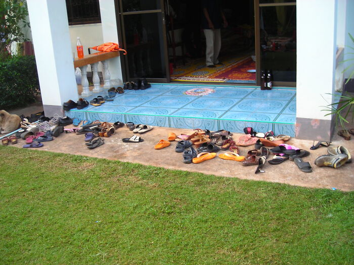 In Thailand, People Remove Their Shoes Before Entering A Building