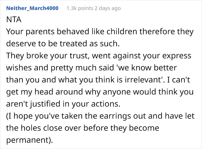 Against The Parents Will, Grandparents Pierce Baby's Ears And Is Mad They Don't Get To Babysit Anymore.