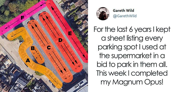 """This Week I Completed My Magnum Opus"": Guy Spends 6 Years Trying To Park In Every One Of 211 Spots At Local Supermarket"