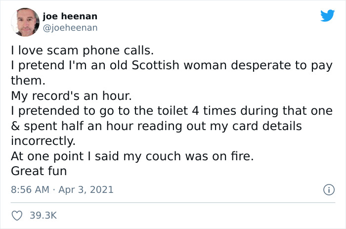People On Twitter Are Sharing Their Tactics To Annoy The Hell Out Of Scam Callers (77 Pics)