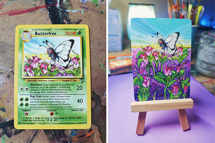 I Take Pokemon Cards And Redraw Them, Making Each One Into A Unique Painting (66 Pics)