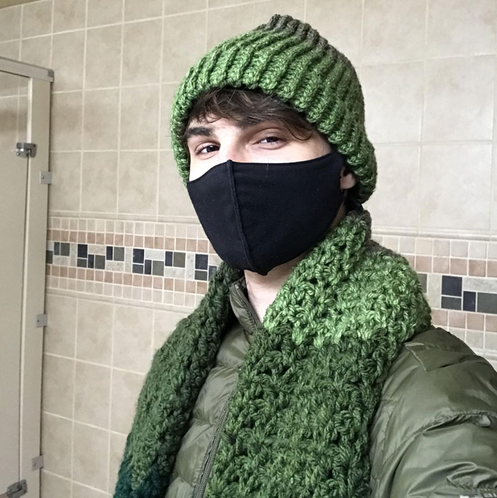 I've Been Biking To Work In The Cold Every Morning, My Coworker Noticed And She Made Me This Scarf And Beanie