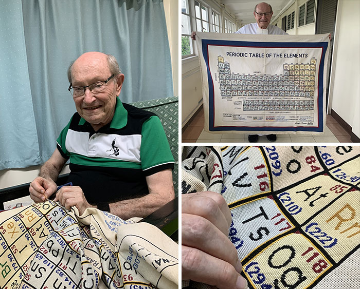 Retired Chemistry Teacher Bro. Martin Sellner Shared His Triumph Of Completing A Cross-Stitch Periodic Table After Two Decades Of Stitching