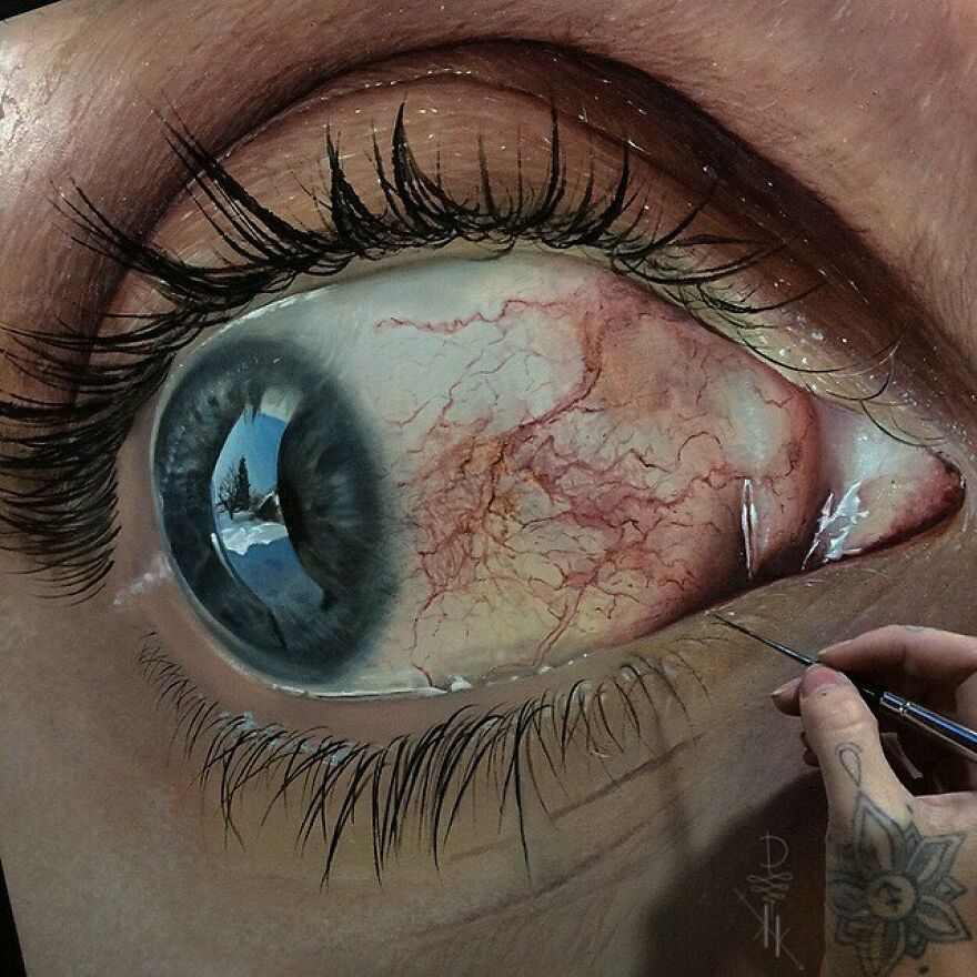 #wip so I Woke Up W/ My Eye All Gnarly The Other Morning. Told My Hubs To Snap A Photo W/ The Nikon. We Thought It Looked Really Neat And Would Be Fun To Paint.... So We Are 😁 Sill Have A Ton To Go. But @oda.paints And I Are Having A Blast Working On Our First Hyperrealistic Collaboration.