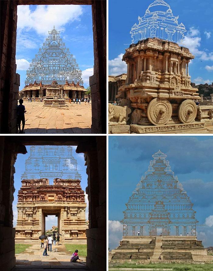 Algunas ruinas de templos indios y su aspecto en su época de esplendor
