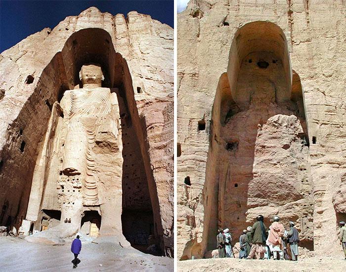 Budas de Bamiyán del siglo VI, las estatuas fueron dinamitadas y destruidas en marzo de 2001 por los talibanes, por orden del líder Mullah Mohammed Omar