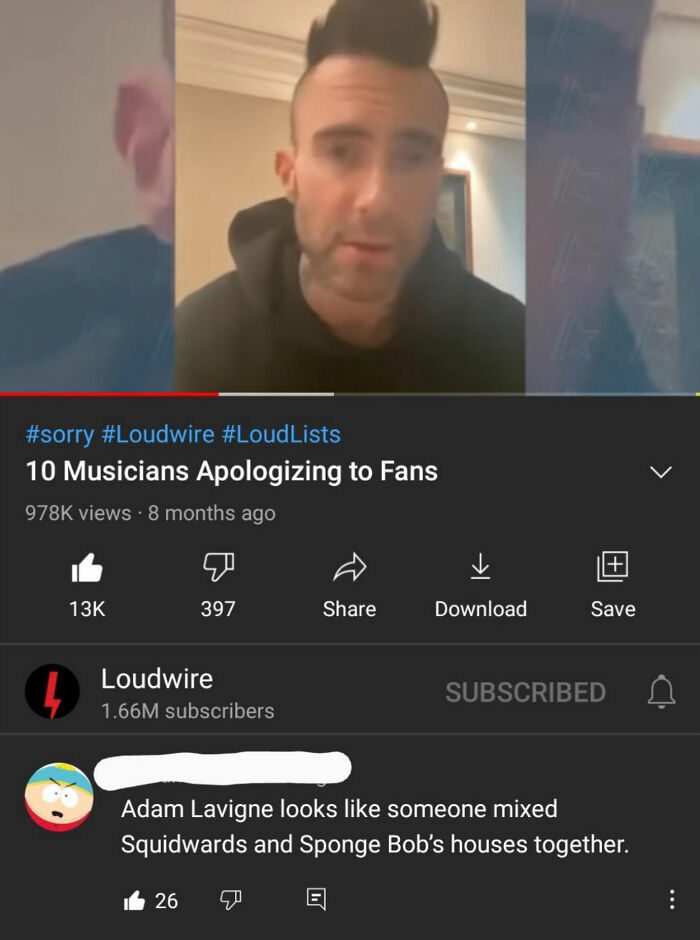 Found This Gem While Scrolling Through The Backlash Against Maroon 5 On A Loudwire Video