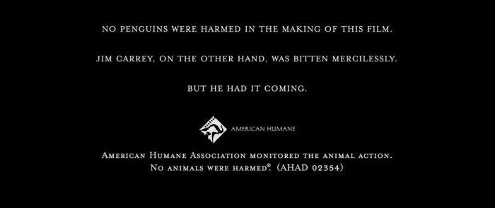 En los créditos finales de Los Pingüinos del Sr. Poper (2011), se confirma que si bien ningún pingüino fue dañado durante el rodaje de la película, Jim Carrey no fue tan afortunado
