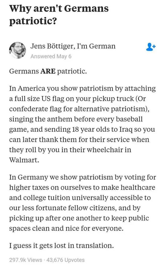 Deutscher Patriotismus vs. American Patriotism